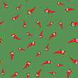 Hot Cartoon Red Peppers Seamless Pattern On Green Background
