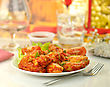 Hot Chicken Wings With Salad stock photo