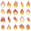 Hot Fire Icons Isolated On White Background