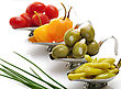 Hot Pepper,Olives,Tomatoes In Small Dishes ,Close Up stock image
