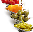Hot Pepper,Olives,Tomatoes In Small Dishes ,Close Up stock photography