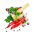 Hot Red Pepper, Garlic, Parsley, Peppercorns And Mustard, Mint, Tarragon, Marjoram In Wooden Mortar stock photography