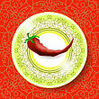 Hot Red Pepper On White Plate And Modern Ornamental Tablecloth stock vector