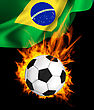 Hot Soccer Ball In Fires Flame, National Flag Of Brasil