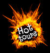 Hot Tours. Concept Vector Illustration With Fire On Black Background