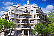 House Casa Mila (La Pedrera)in Barcelona Building By The Great Spain Architect Antonio Gaudi stock image