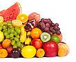Huge Group Of Fresh Fruits Isolated On A White Background. Shot In A Studio stock photo