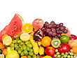 Huge Group Of Fresh Vegetables And Fruits Isolated On A White Background. Shot In A Studio stock image