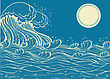 Huge Sea Waves. Vector Illustration Of Symbol Of Nature