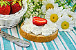 Hunk Of Bread With Cottage Cheese Cream And Strawberries, A Basket With Berries, A Knife, A Bouquet Of Daisies On A Green Striped Cloth