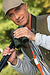 Hunter With His Binoculars stock photography