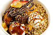 Ice Cream With Chocolate, Nuts And Caramel Close Up stock image