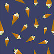 Ice Cream Seamless Pattern On Blue Background