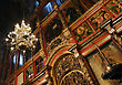Majestic Iconostasis Christian Cathedral In The Light Of The Lamps stock photo