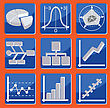 Icons With Different Types Of Charts And Graphs stock illustration