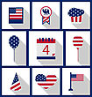 Icons Set USA Flag Color Independence Day 4th Of July Patriotic Symbolic Decoration For Holiday Or Celebration Backgrounds - Vector stock vector