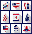 Icons Set USA Flag Color Independence Day 4th Of July Patriotic Symbolic Decoration For Holiday Or Celebration Backgrounds - Vector stock illustration