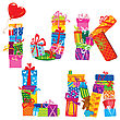IJKLM - English Alphabet - Letters Are Made Of Gift Boxes And Presents