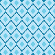 Ikat Ethnic Ornament, Pattern In Blue Colors stock illustration