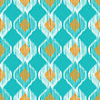 Turquoise Ikat Ethnic Seamless Pattern In Blue And Yellow Colors stock illustration