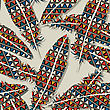 Ikat Feather Seamless Pattern Design stock illustration