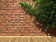 Illuminated Brick Wall And Ivy Made In 3D Graphics