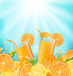 Illustration Abstract Background For Cocktail Party With Sliced Of Oranges, Lemons And Fresh Beverages - Vector