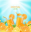 Illustration Abstract Banner For Cocktail Party With Sliced Of Oranges, Lemons And Fresh Beverages - Vector