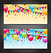 Illustration Abstract Banners With Colorful Balloons, Hanging Flags And Confetti - Vector