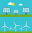Illustration Abstract Banners With Solar Panels And Wind Generators, Alternative Sources Energy - Vector stock illustration