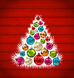 Illustration Abstract Christmas Tree And Colorful Balls On Wooden Background - Vector