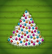 Illustration Abstract Christmas Tree Decorated Colorful Balls On Green Wooden Background - Vector
