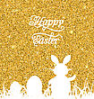 Illustration Abstract Easter Sparkle Background With Rabbit, Eggs, Grass. Celebration Luxury Card Or Invitation. Happy Easter Lettering - Vector