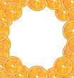Illustration Abstract Frame With Sliced Oranges, Copy Space For Your Text - Vector