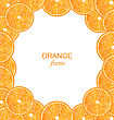 Illustration Abstract Frame With Sliced Oranges On White Background - Vector