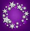 Illustration Abstract Greeting Round Frame Made Of Silver Stars. Copy Space For Your Text - Vector