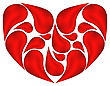 Illustration Abstract Heart Made Of Drops Blood - Vector