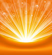 Illustration Abstract Orange Background With Sun Light Rays - Vector