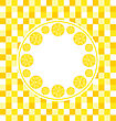 Illustration Abstract Round Frame With Sliced Lemons On Yellow Tiled Background - Vector