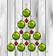 Illustration Abstract Tree Made Of Christmas Balls - Vector