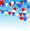Illustration American Background With Balloons In The Blue Sky - Vector