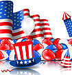Illustration American Background With Balloons, Party Hats, Firework Rocket, Flag And Confetti - Vector stock vector