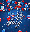 Illustration American Celebration Background For Independence Day 4th July. Poster With Balloons And Bunting. Traditional Colors. Lettering Text - Vector