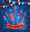 Illustration American Greeting Background For Independence Day 4th July. Poster With Firecrackers And Bunting. Traditional Colors - Vector