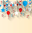 Illustration American Patriotic Background With Balloons, Streamer, Stars And Pennants, In US National Colors. Wallpaper For Independence Day, Trendy Flat Style With Long Shadow Style - Vector