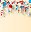 Illustration American Patriotic Background With Balloons, Streamer, Stars And Pennants, In US National Colors, Trendy Flat Style With Long Shadow Style - Vector