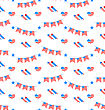 Illustration American Patriotic Seamless Pattern, US National Colors - Vector