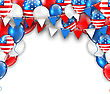Illustration American Traditional Celebration Background For Holidays Of USA. Poster With Balloons And Bunting Pennants. Copy Space For Your Text - Vector