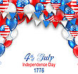 Illustration American Traditional Celebration Background For Independence Day. Poster With Balloons And Bunting - Vector stock vector