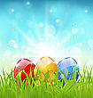 Illustration April Background With Easter Colorful Eggs - Vector